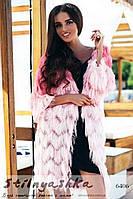 Женский пушистый кардиган-накидка Травка градиент розовый