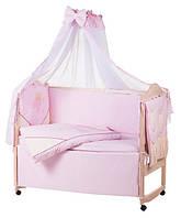 Детское постельное белье с аппликациями 8 элементов розовое с бежевыми вставками Ellit 60909