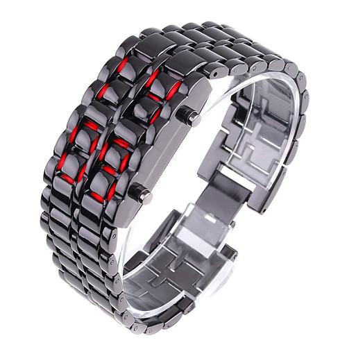 Часы-браслет Iron Samurai, Айрон Самурай черный с красными светодиодами ( код: IBW012BR )