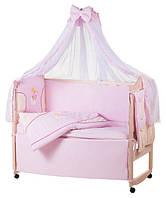 Детское постельное белье с аппликациями 8 элементов розовое с бежевыми вставками Ellit 60912