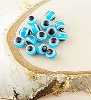 Бусина турецкий глаз пластик 8 мм голубая (товар при заказе от 200 грн)