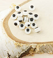 Бусина турецкий глаз пластик 8 мм белая (товар ри заказе от 500грн)