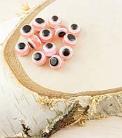 Бусина турецкий глаз пластик 8 мм розовая (товар при заказе от 200 грн)