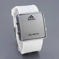 Зеркальные часы Adidas LED WATCH, Адидас Лед белые ( код: IBW007O )