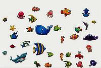 Наклейка виниловая Морская фауна 3D декор