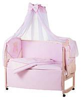 Детское постельное белье с аппликациями 8 элементов розовое с бежевыми вставками Ellit 60910