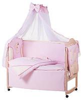 Детское постельное белье с аппликациями 8 элементов розовое с бежевыми вставками Ellit 60913
