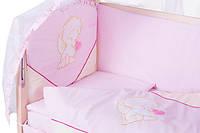 Детское постельное белье с аппликациями 8 элементов розовое с бежевыми вставками Ellit 60905