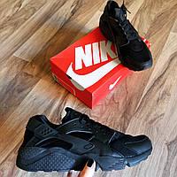 Мужские черные кроссовки найк Nike Huarache All Black