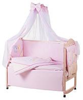 Детское постельное белье с аппликациями 8 элементов розовое с бежевыми вставками Ellit 60907