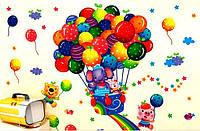 Наклейка виниловая Слоник с шариками 3D декор
