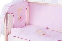 Детское постельное белье с аппликациями 8 элементов розовое с бежевыми вставками Ellit 60914