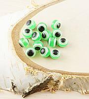 Бусина турецкий глаз пластик 8 мм зеленая (товар при заказе от 200 грн)