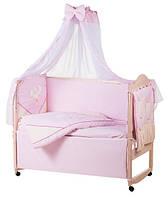Детское постельное белье с аппликациями 8 элементов розовое с бежевыми вставками Ellit 60916