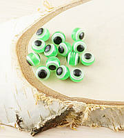 Бусина турецкий глаз пластик 8 мм зеленая