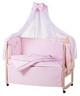 Детское постельное белье с аппликациями 8 элементов розовое с бежевыми вставками Ellit 60911