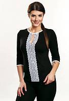Чиара блузка черная рукав три четверти