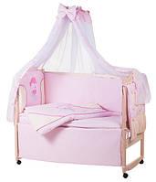 Детское постельное белье с аппликациями 8 элементов розовое с бежевыми вставками Ellit 60915