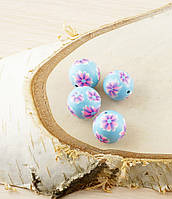 Бусина из полимерной глины 20мм синяя с цветами