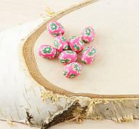 Бусина из полимерной глины 15мм розовая-цветчная (товар при заказе от 200 грн)