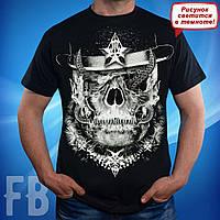 Мужская футболка с черепом черного цвета