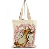 Экосумка текстильная ручная работа художественная роспись кот eco-1002