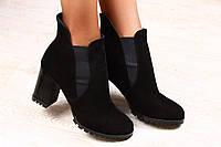 Ботинки демисезонные черные замшевые на устойчивом каблуке с резиночками р.39,38