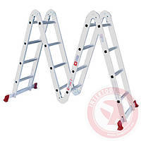 Лестница алюминиевая мультифункциональная трансформер 4x4 ступ. 4,62 м INTERTOOL LT-0029, фото 1