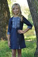 Детское короткое вышитое платье темно-синее