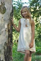 Детское вышитое платье из льна бежевое