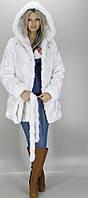 Шубка средней длины из искусственного меха, белого цвета под норку (в розницу +150грн)