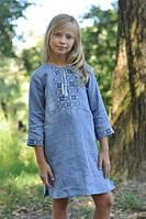 Детское короткое вышитое платье голубое