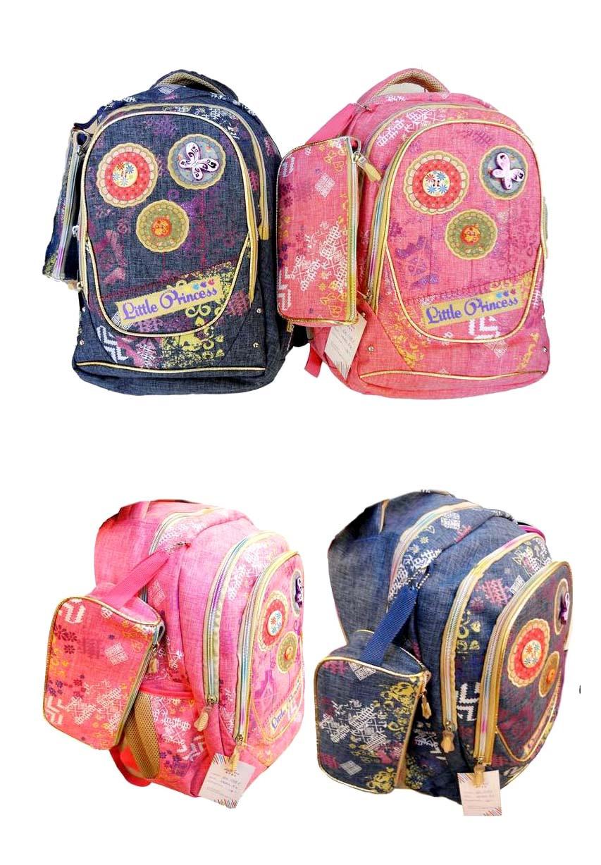 """Рюкзак школьный для ДЕВОЧЕК, LITTLE PRINCESS, GB1769P, джинсовая плотная ткань, размер -  18"""" + большой пенал"""