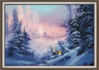 Набор для рисования стразами Домик в зимнем лесу КС-090