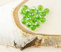 Бусина рондель стекло зеленый (10шт) 8мм