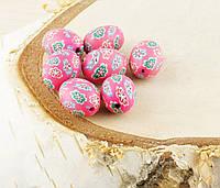 Бусина из полимерной глины 15мм цветасто-розовая