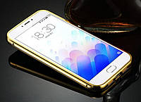 Чехол-пенал для Meizu M3s, составной, материал алюминий/пластик, цвет золотистый
