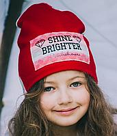 Двухсторонняя трикотажная шапка для девочки Лэтти, р 46 см