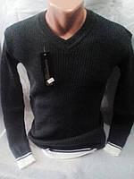 Мужской серый свитер с вырезом 46-50 рр