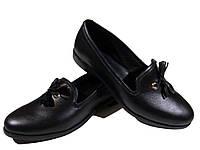 Туфли женские комфорт натуральная кожа черные на резинке (207)