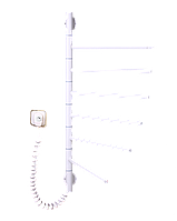 Полотенцесушитель электрический с терморегулятором Вертикаль-6 поворотная белого цвета Elna, фото 1