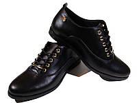 Туфли женские комфорт натуральная кожа черные на шнуровке (206)
