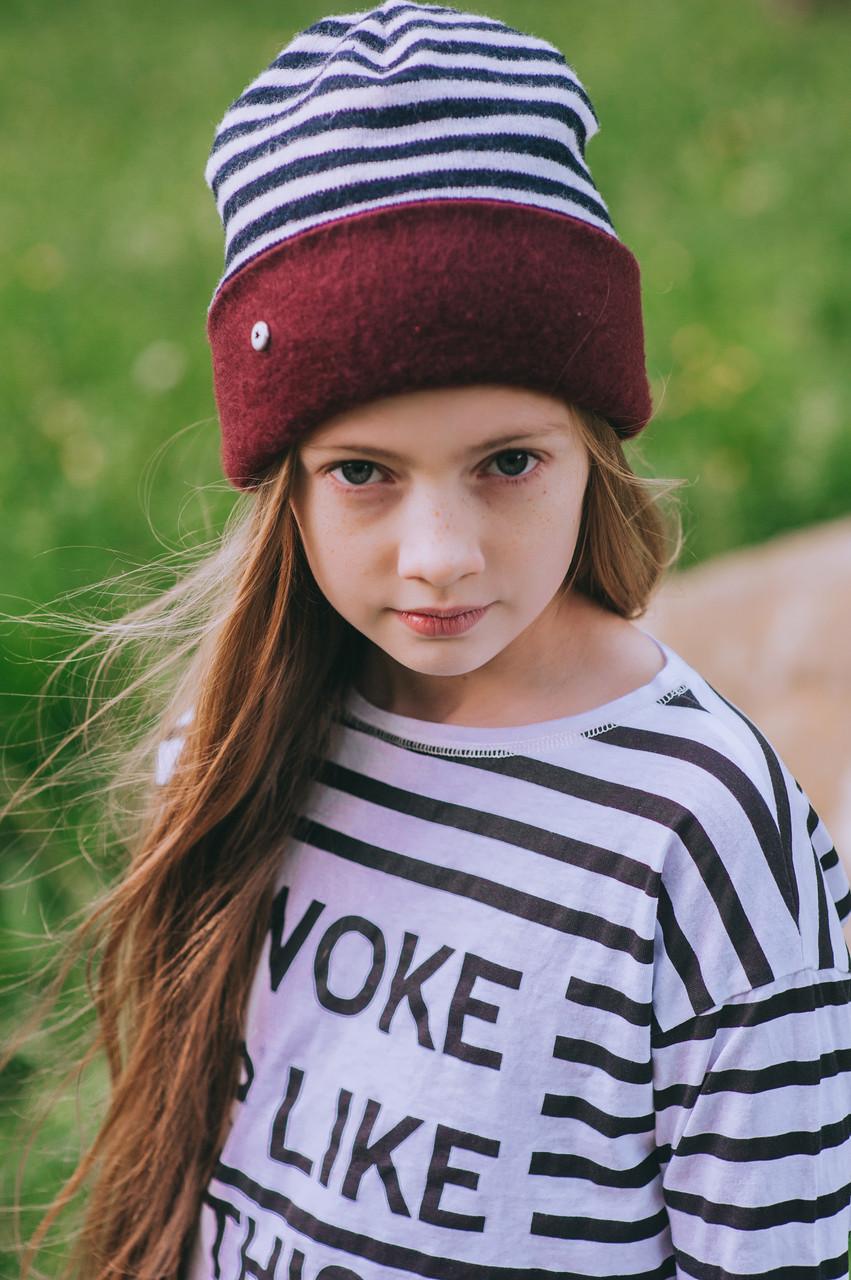 Детская шапка (двухсторонняя) АНЕТ для девочек оптом размер XS-S-M