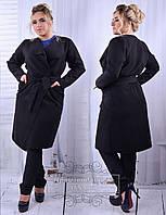 Демисезонное женское пальто из кашемира большого размера
