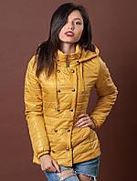 Модная женская демисезонная куртка на ситепоне горчица