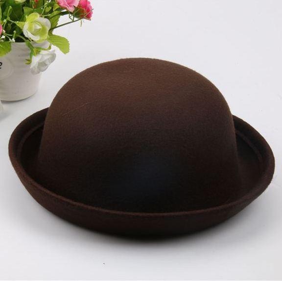 Шляпа женская фетровая котелок коричневая