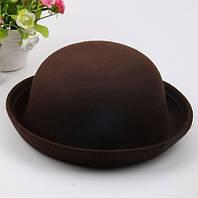 Шляпа женская фетровая котелок коричневая, фото 1