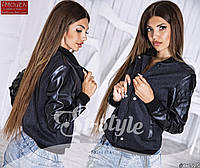 Курточка на молнии, рукава из эко-кожи