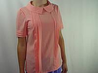 Блуза с застроченными складами на полочке, розовая