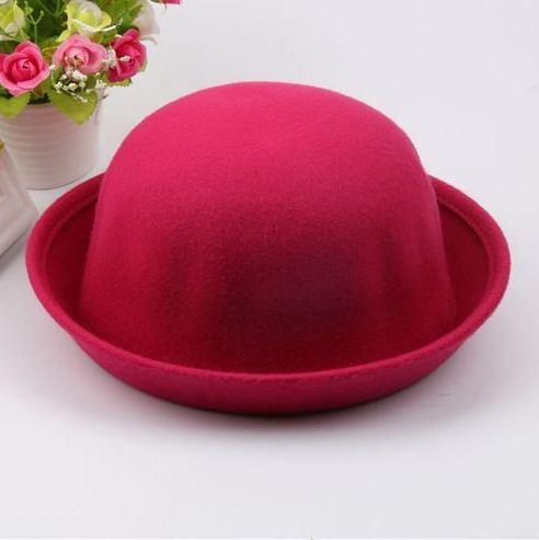 Шляпа женская фетровая котелок розовая